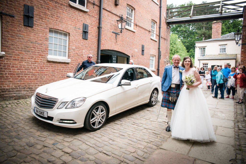 Bride arriving at Quarry Bank Mill