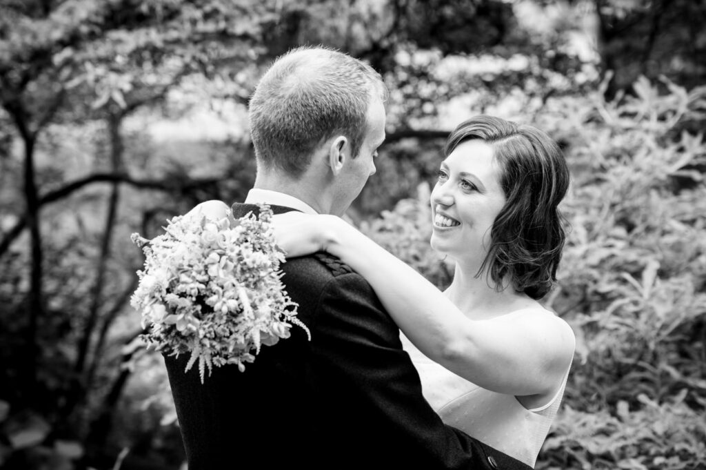 Bride and groom portrait at Quarry Bank Mill