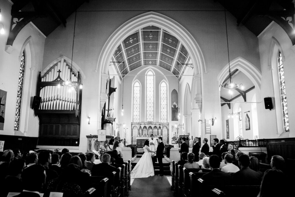 Wedding at St John the Baptist church in Heaton Mersey