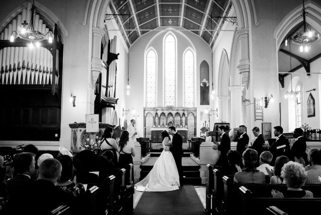 First kiss at St John the Baptist church in Heaton Mersey