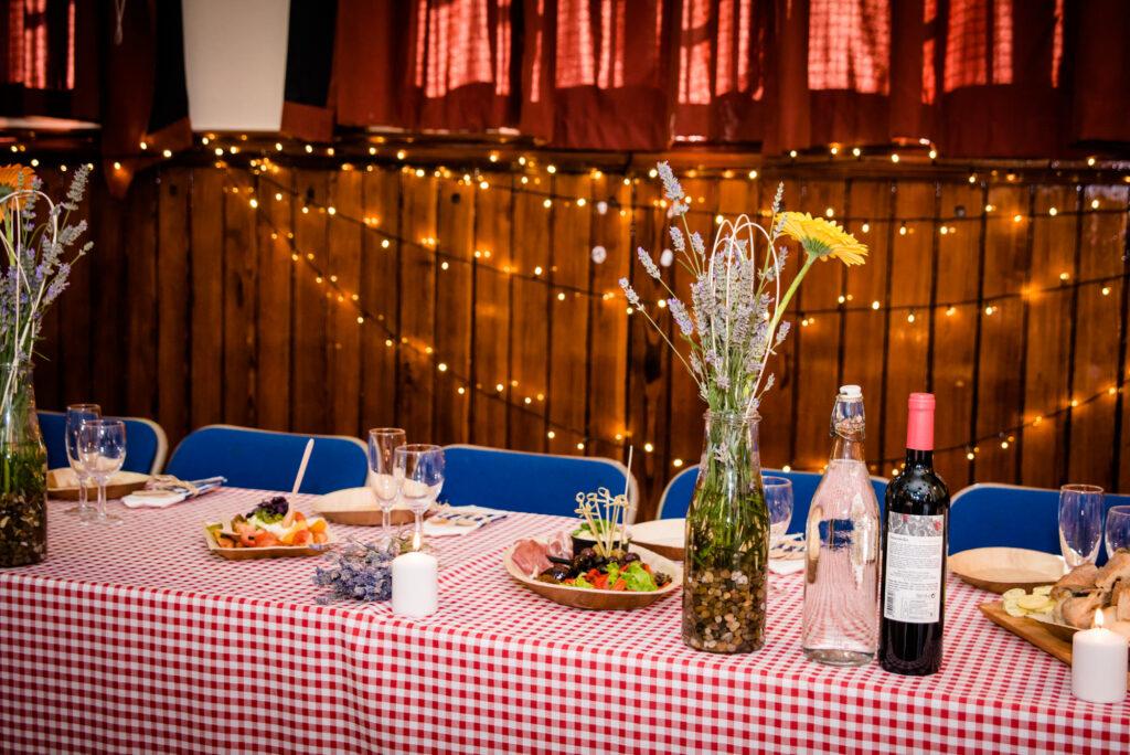 Picnic wedding tables