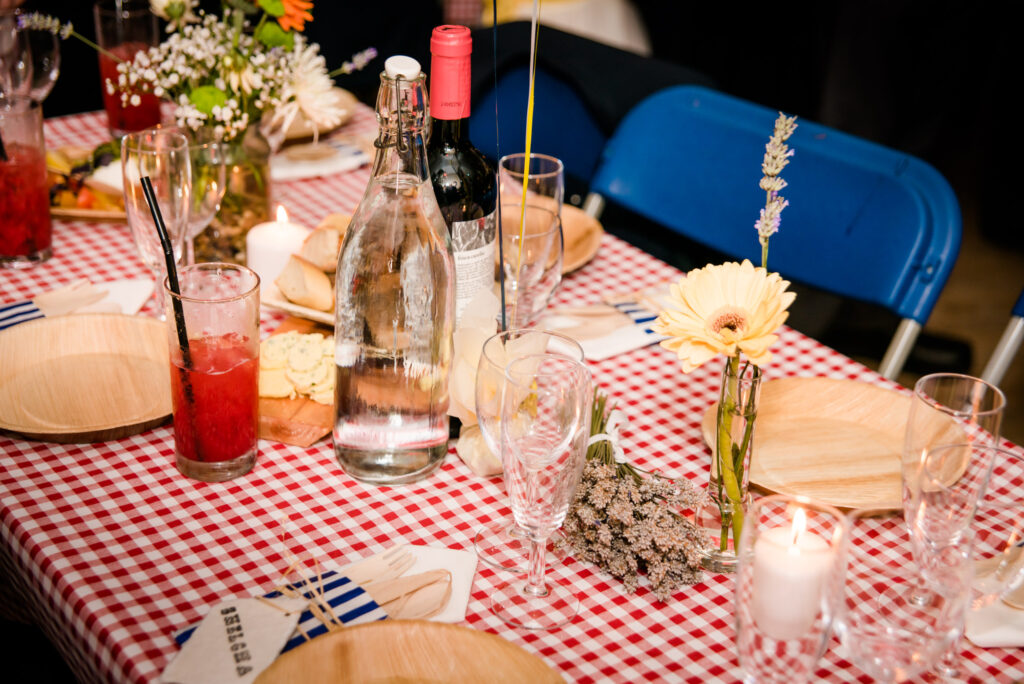 Picnic Wedding table with red tablecloth