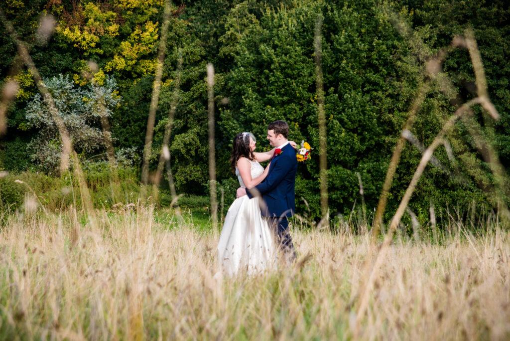 Bride and groom in the Heaton Mersey Park