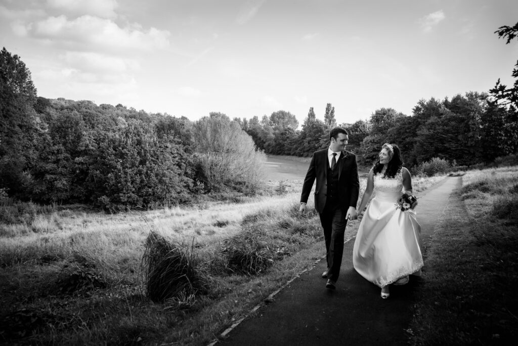 Relaxed bridal portrait in the Heaton Mersey Park