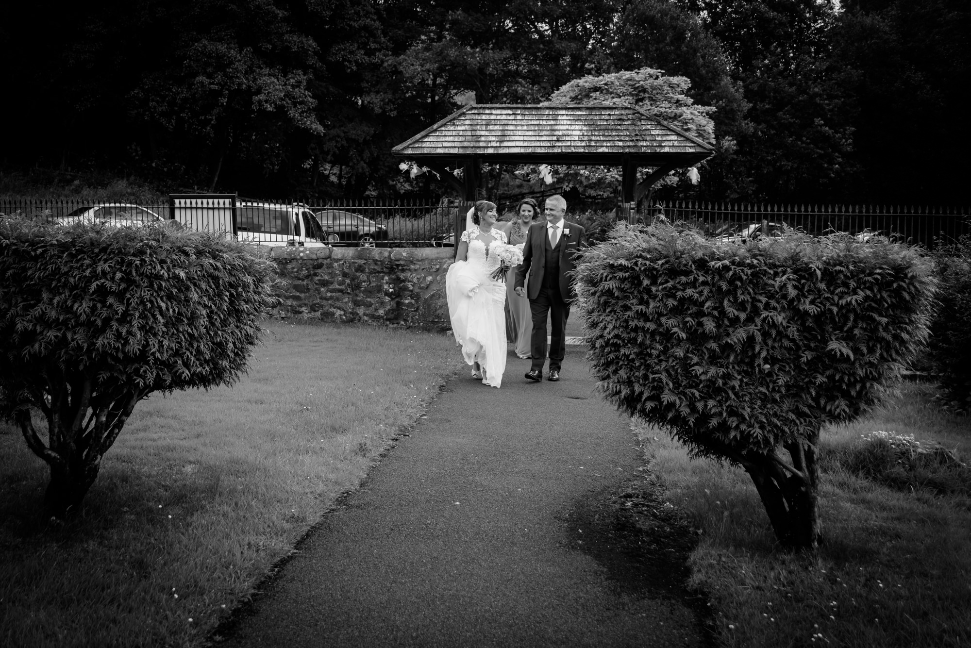 Bride arriving at the Parish Church of Saint Michael Whitewell