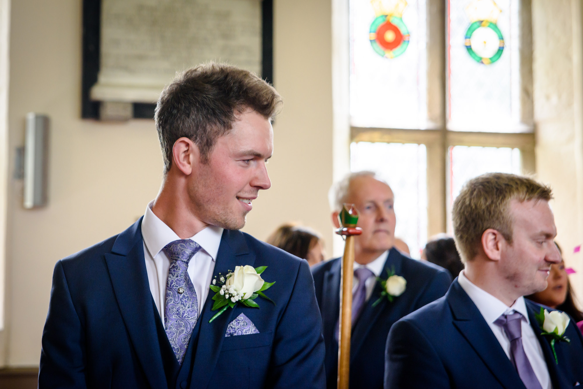 GRoom waiting for the bride at Parish Church of Saint Michael Whitewell