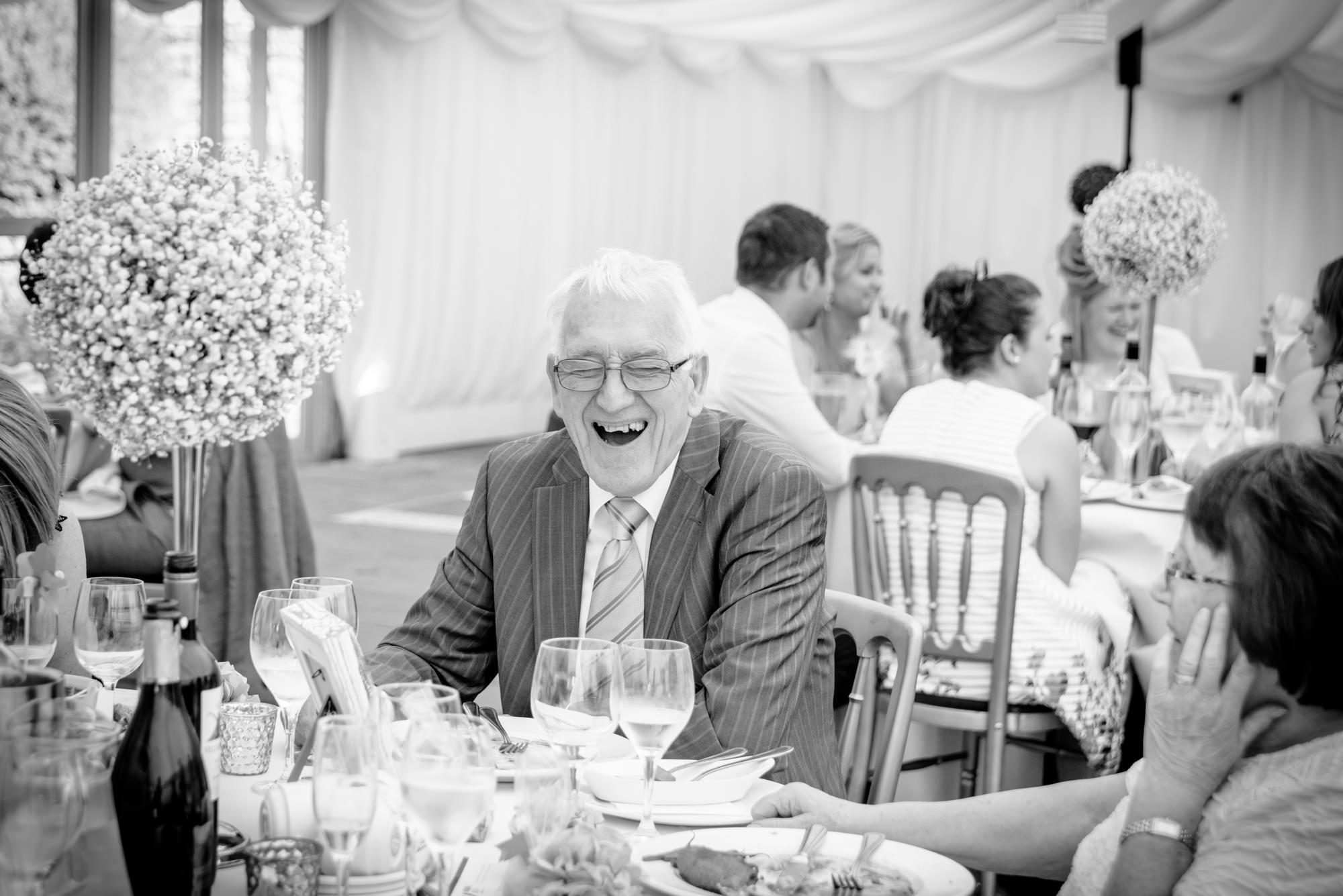 Grand dad laughing