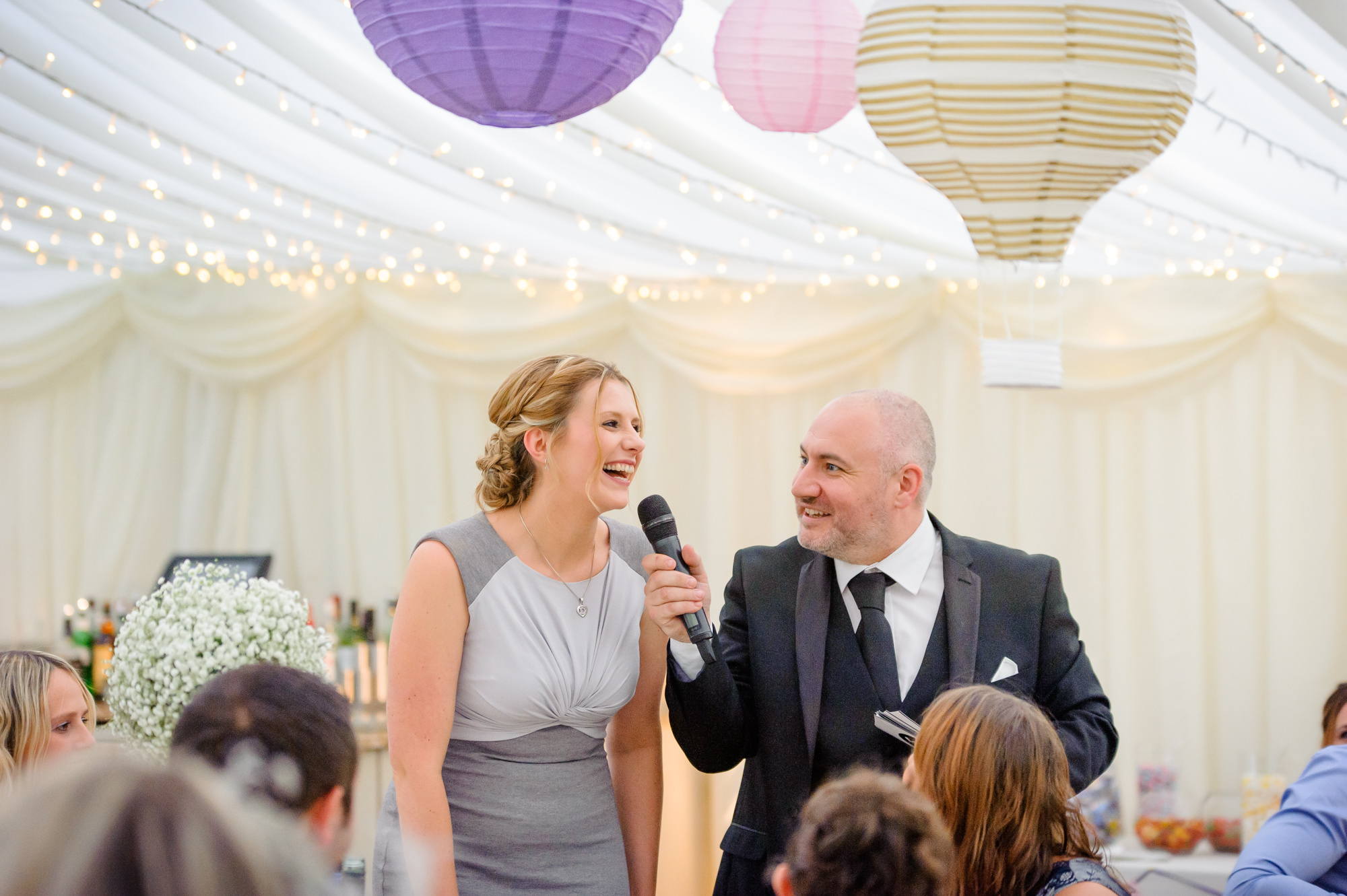 Pat Mulligan the wedding host questionning a guest