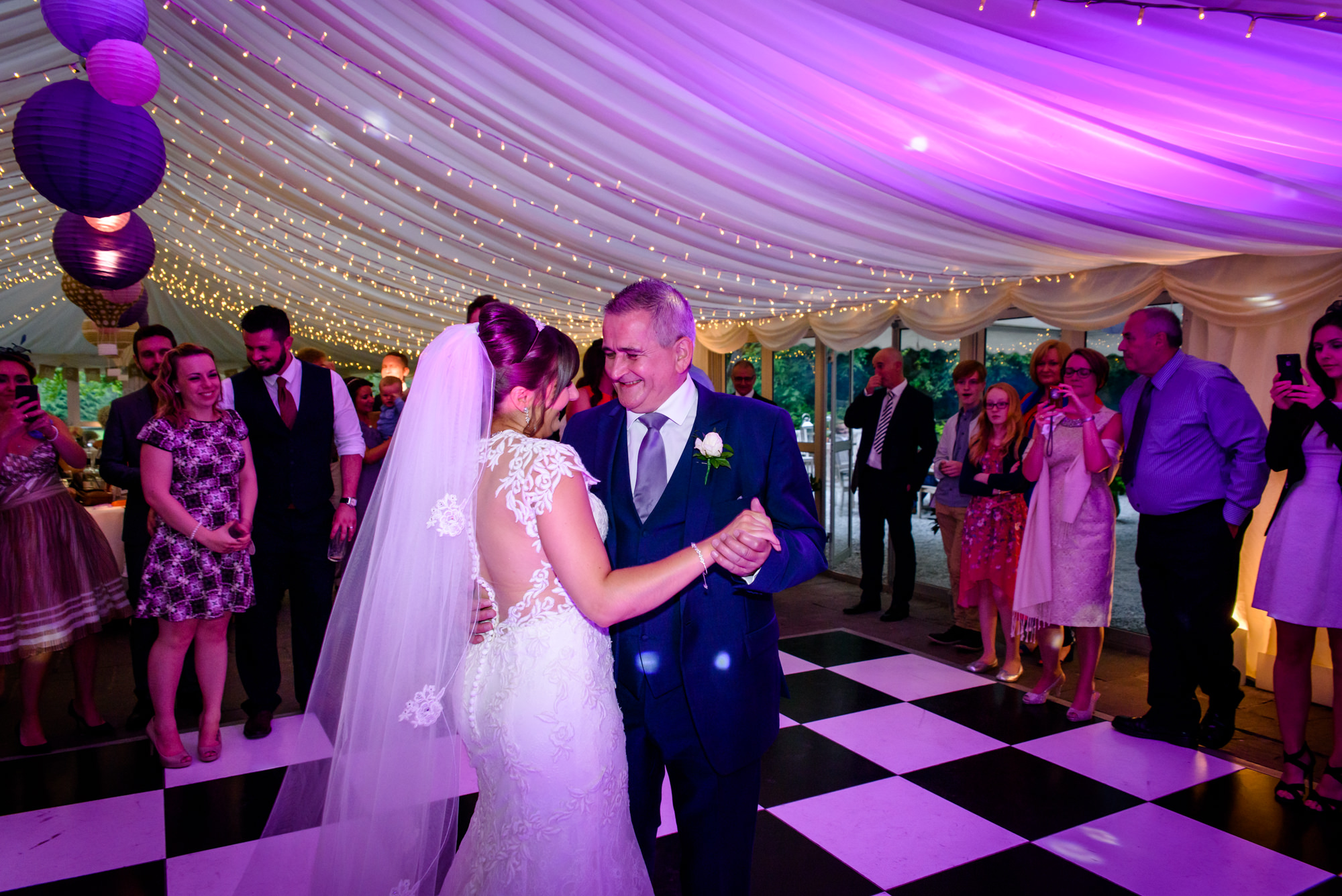 bride and dad dance at The inn at Whitewell