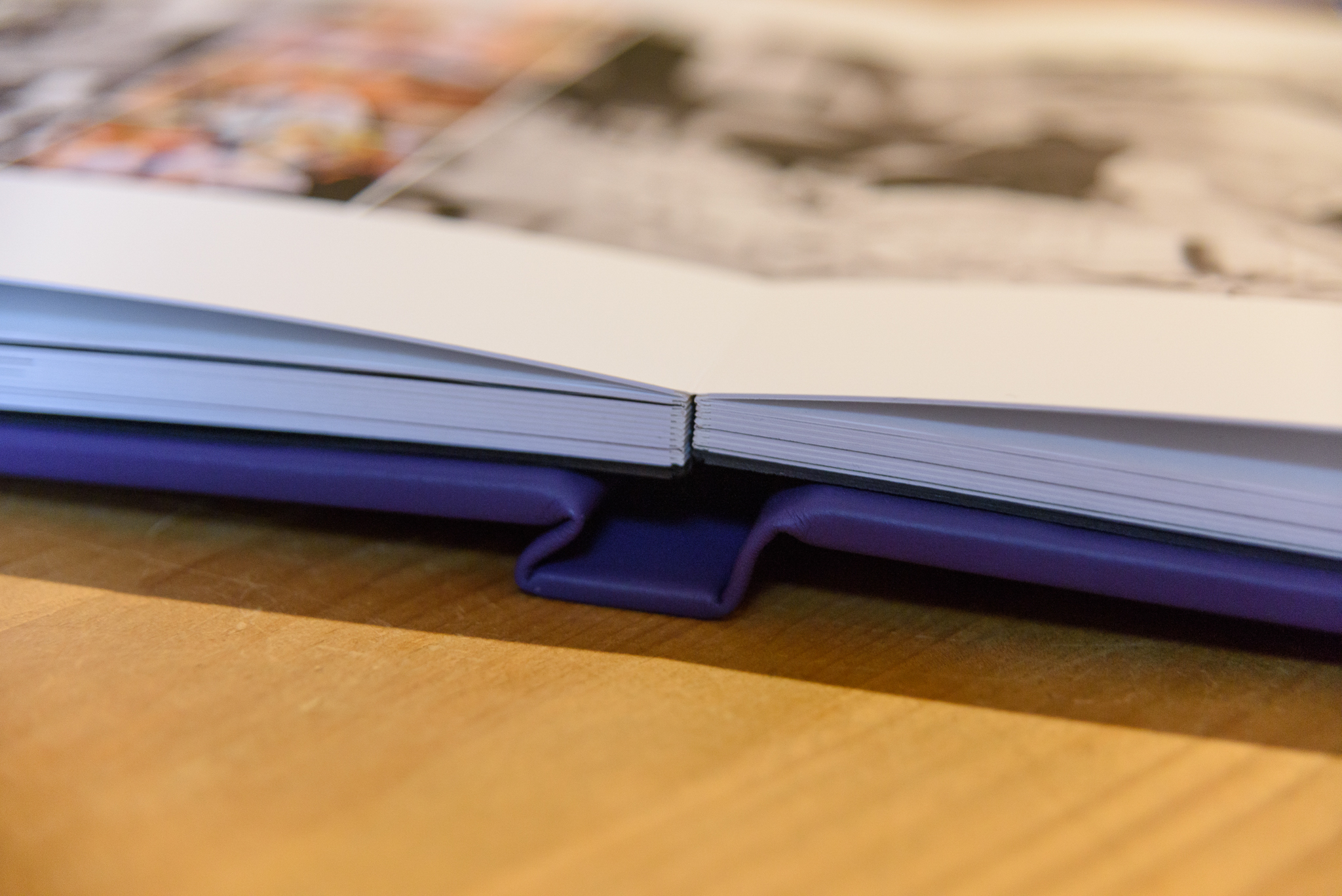 wedding album spine with purple cover