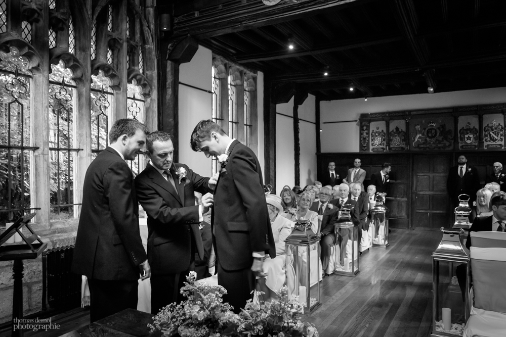 Groom waiting for the ceremony at Samlesbury Hall
