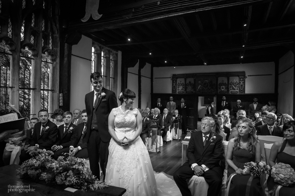 wedding ceremony at Samlesbury Hall
