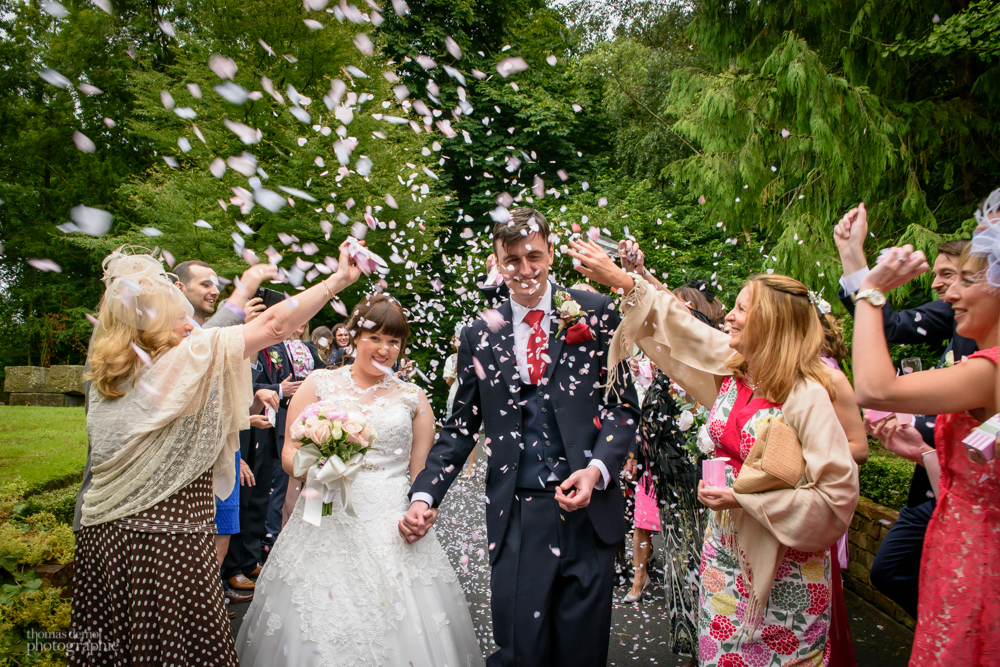 Confetti photo at Samlesbury Hall