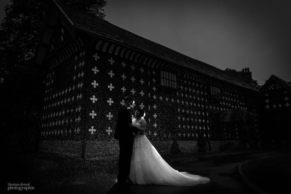 Rainy wedding at Samlesbury Hall
