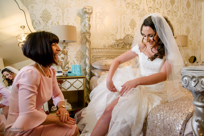 Bride getting ready at Beeston Manor