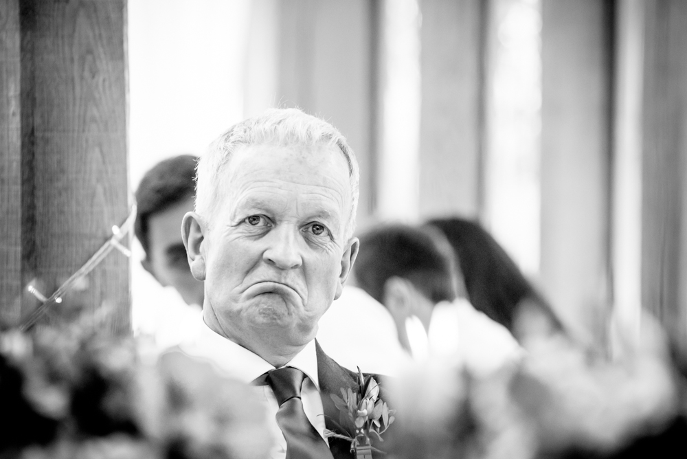 Emotional father of the bride at Oak Tree of Peover