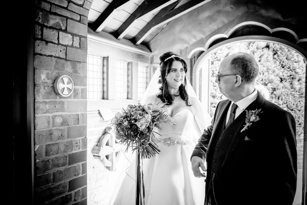 Bride arriving with her dad at St Mary's Church in Middlewich