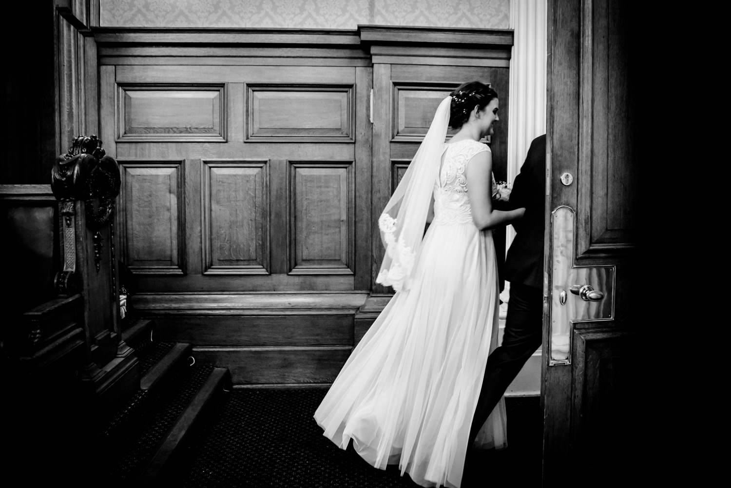 Bride and groom leaving the Council Chamber Stockport