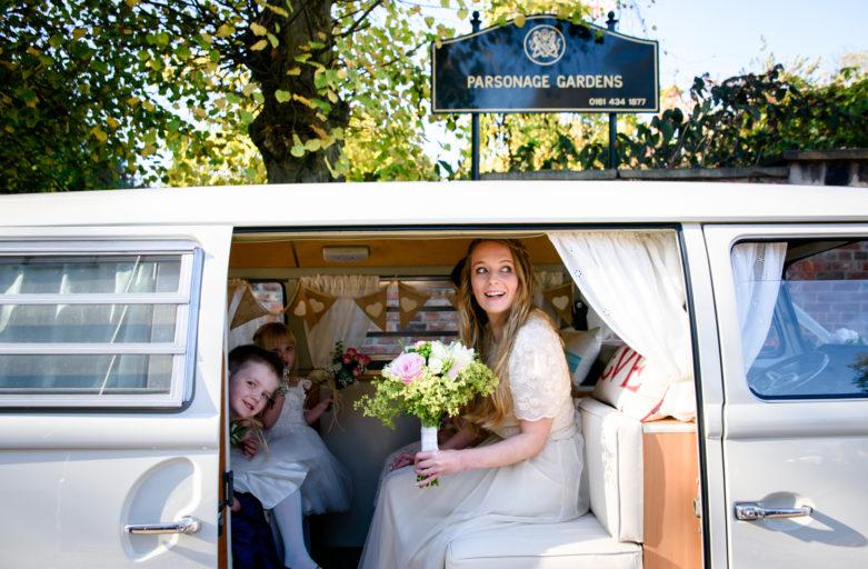 Bride arriving in VW campervan
