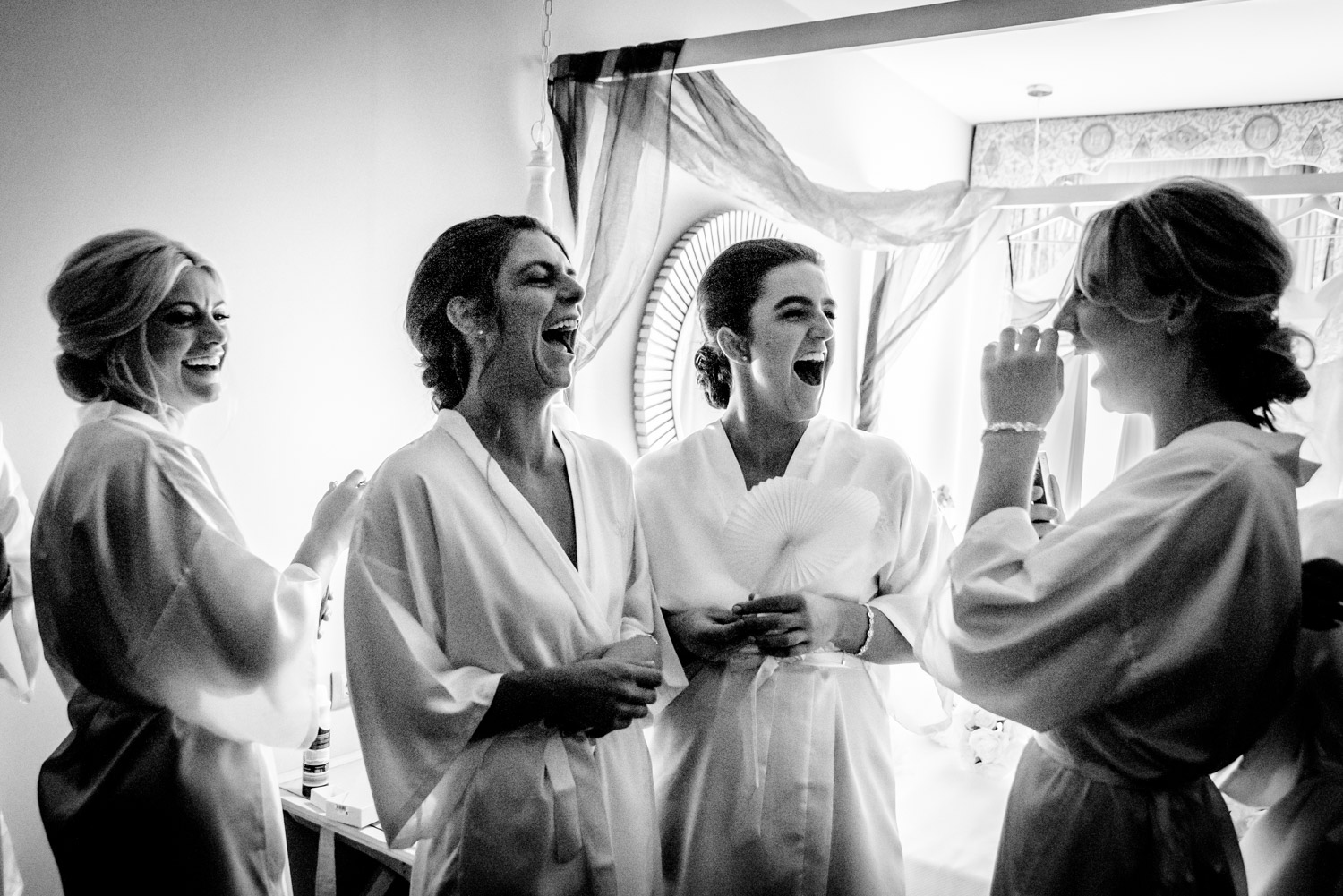 bridal prep laughs