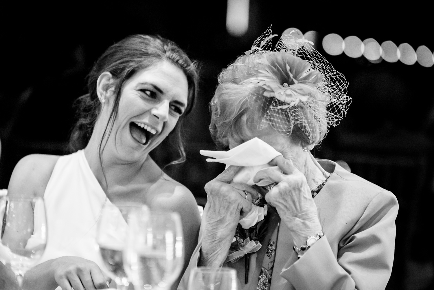 bridesmaid laughing at grandma