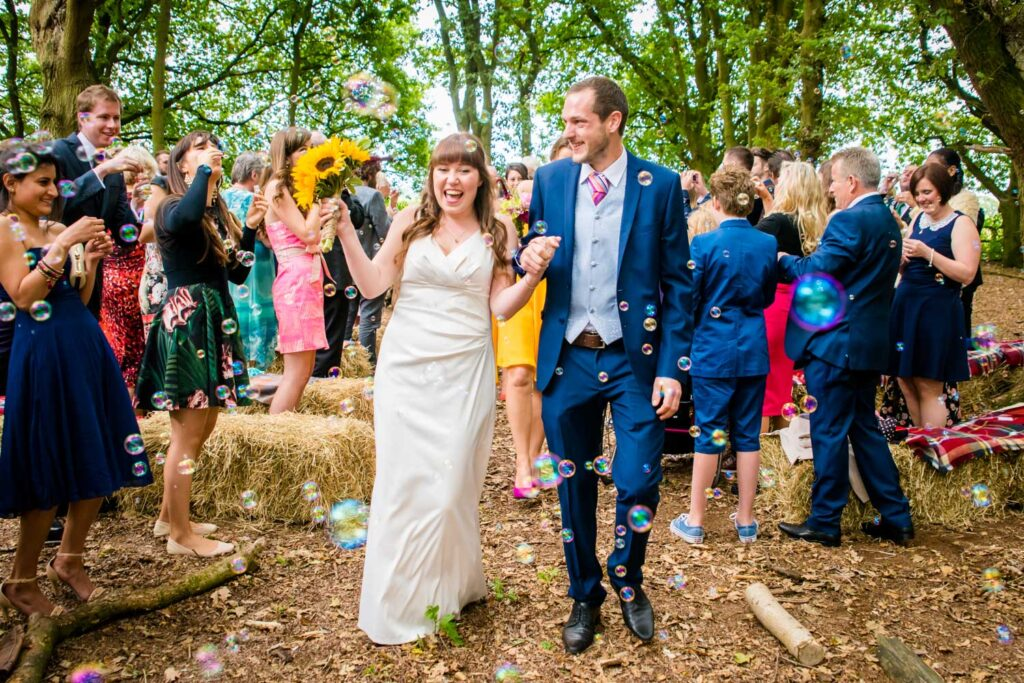 walking down the aisle in the woods