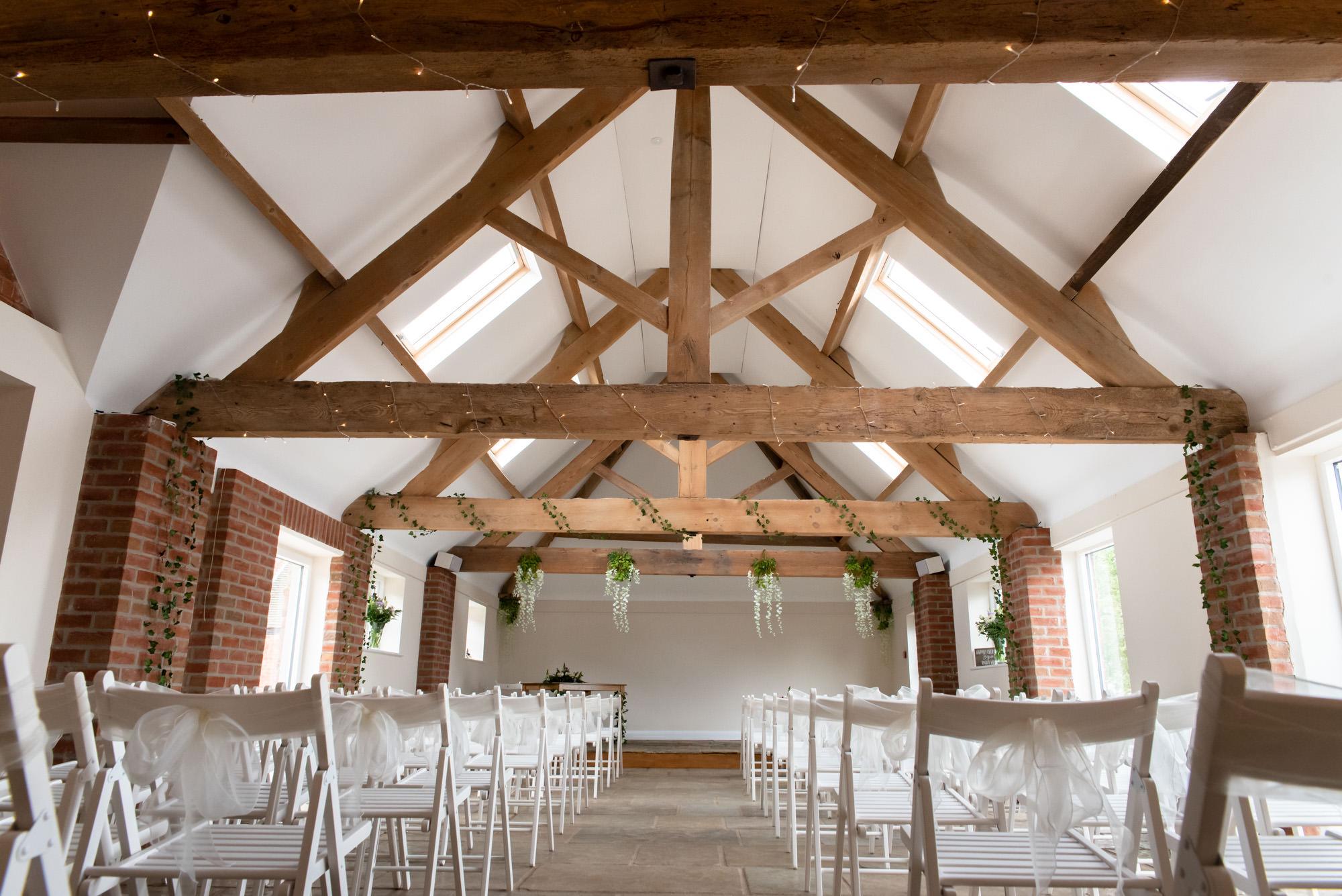 Ceremony room at Hanbury Wedding Barn