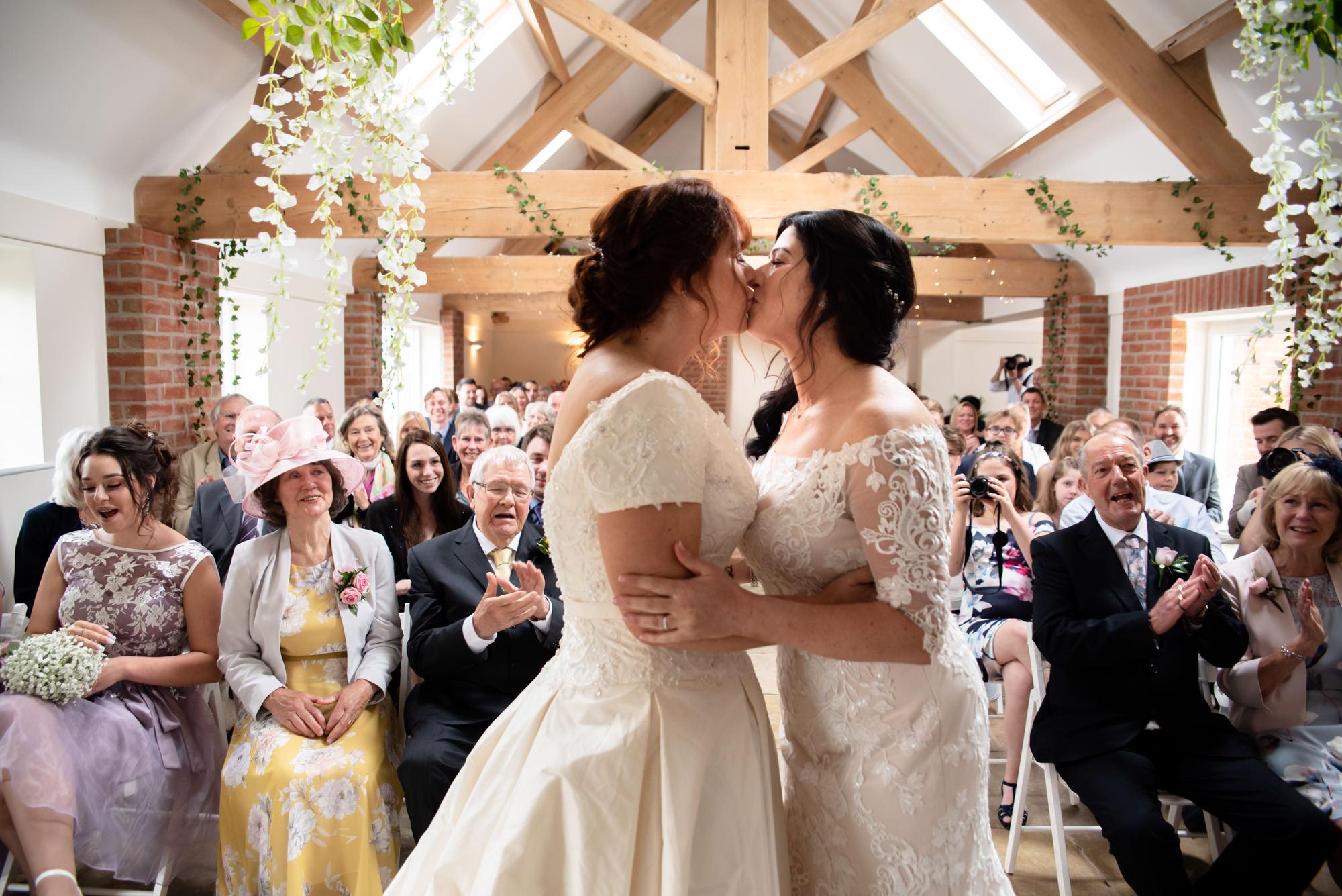 First Kiss at Hanbury Wedding BArn
