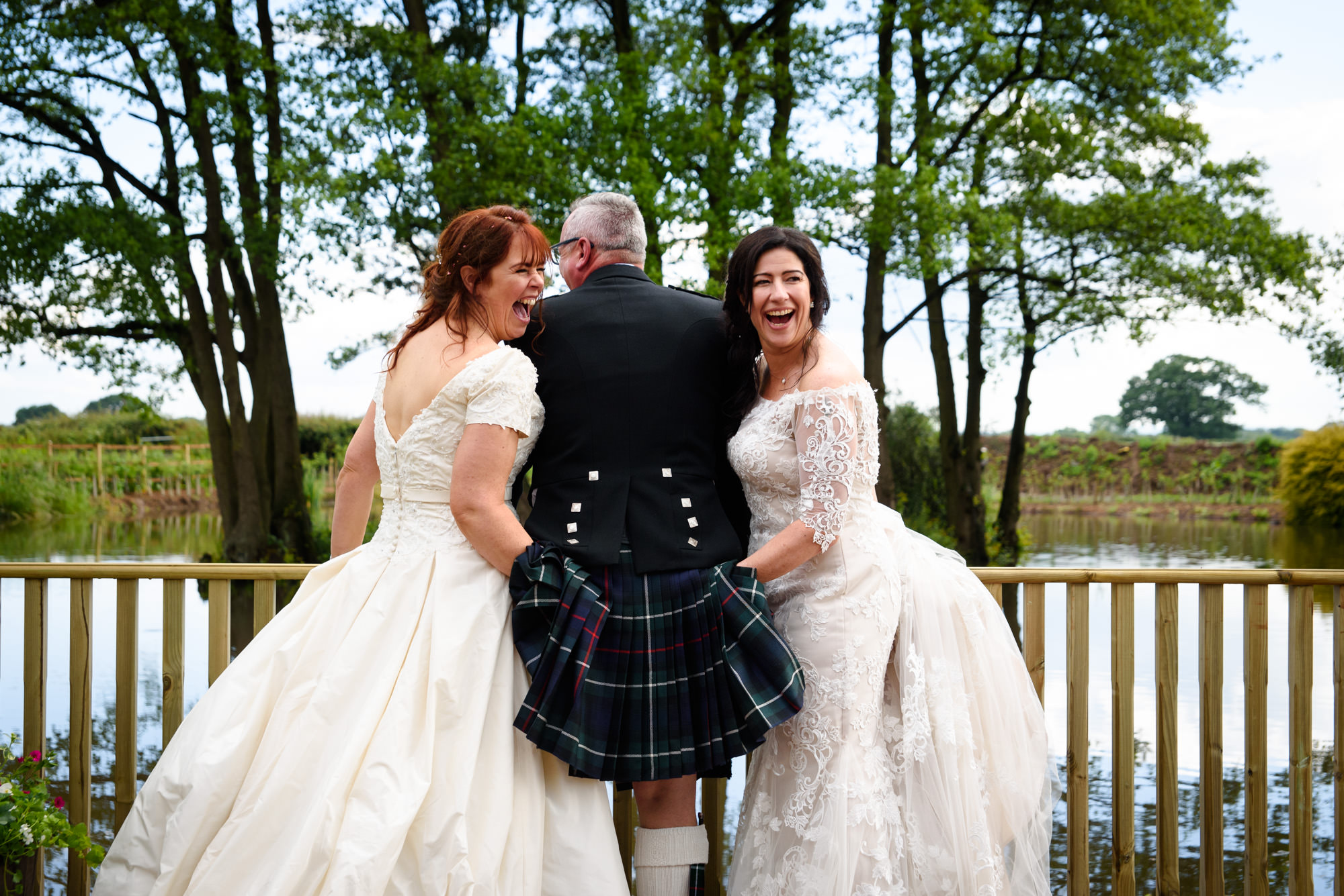 Two brides checking if their friend is a true Scotsman