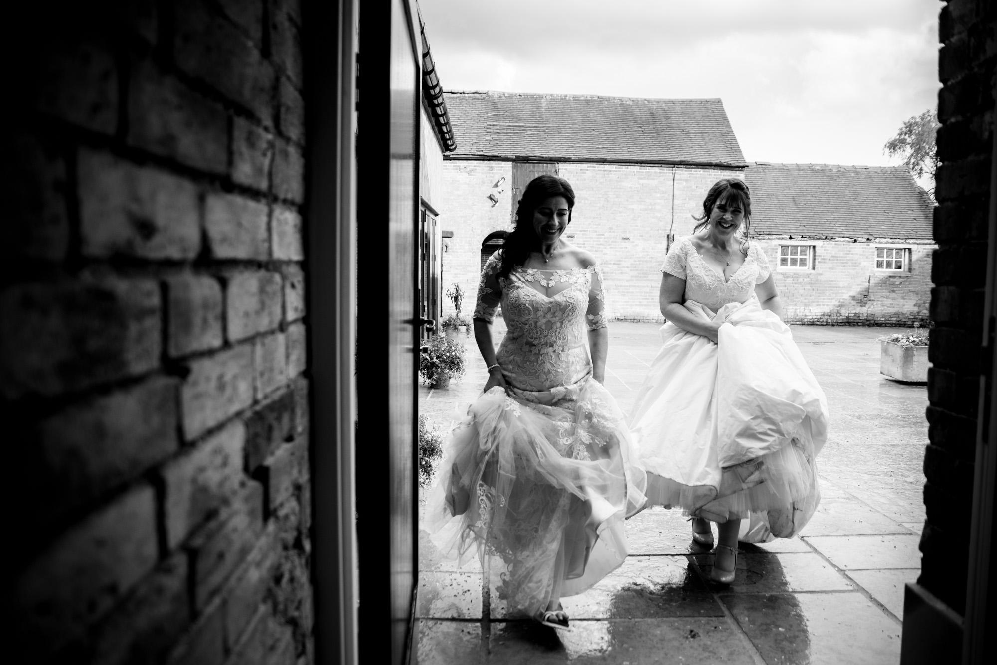 Walking back inside Hanbury Wedding Barn