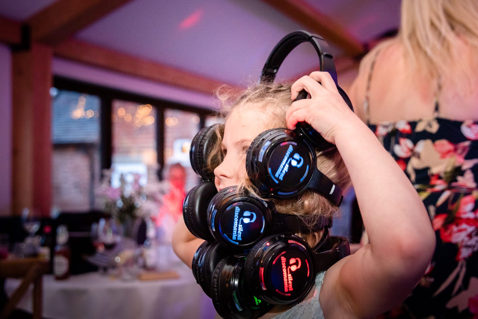 Silent disco with four headsets