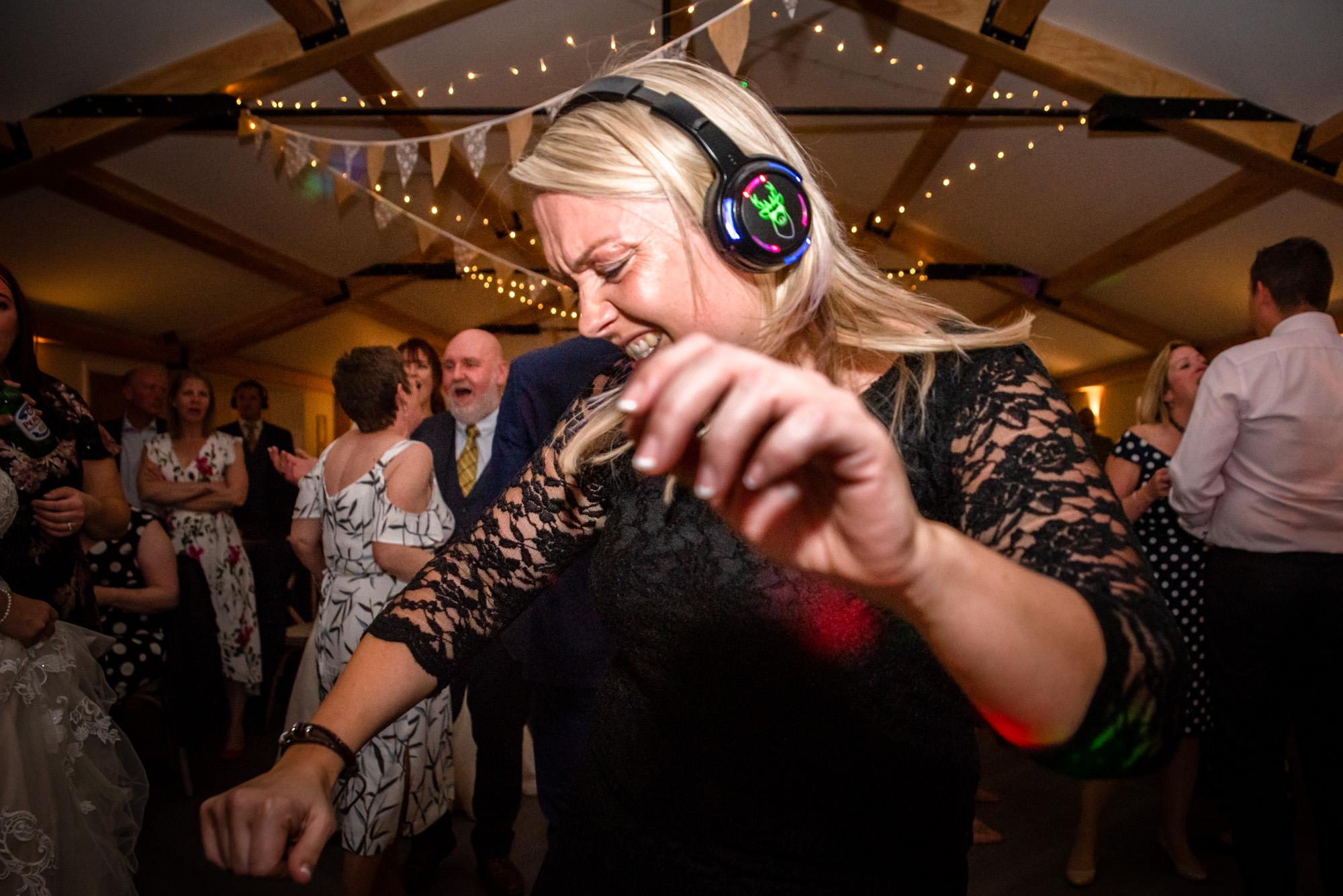woman dancing at silent disco