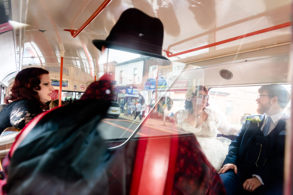 Gypsy jazz duo and vintage bus