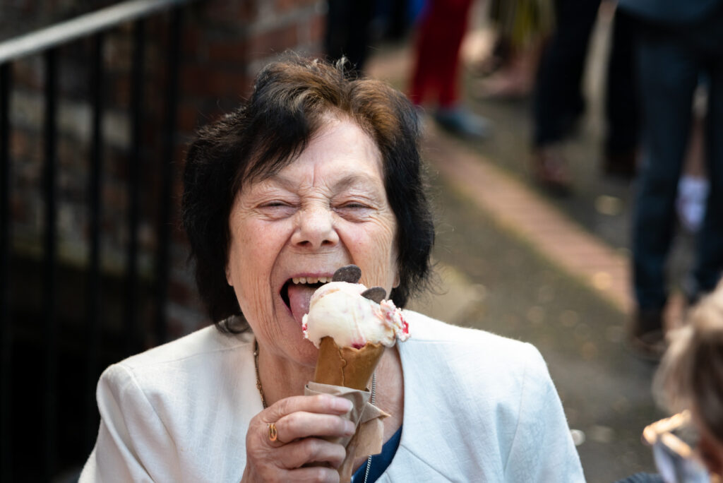 Nana eating ice cream
