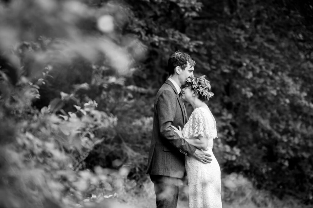 Bride and groom sharing intimate time