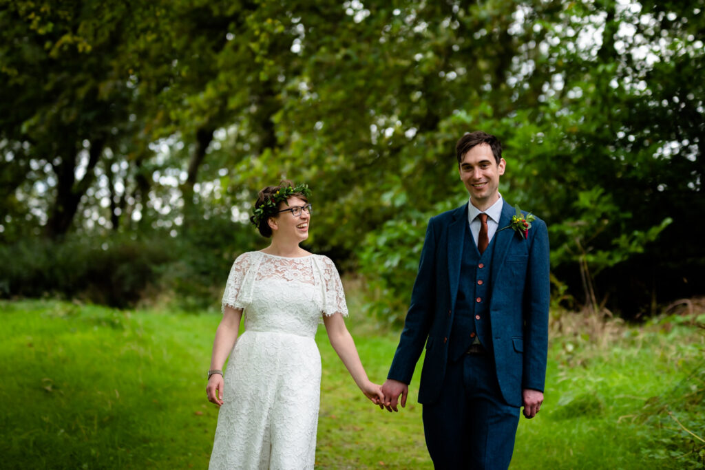 relaxed portrait photo of the bride and groom