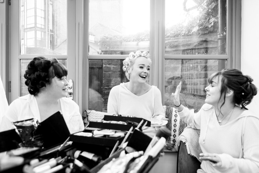 bride and bridesmaids chatting