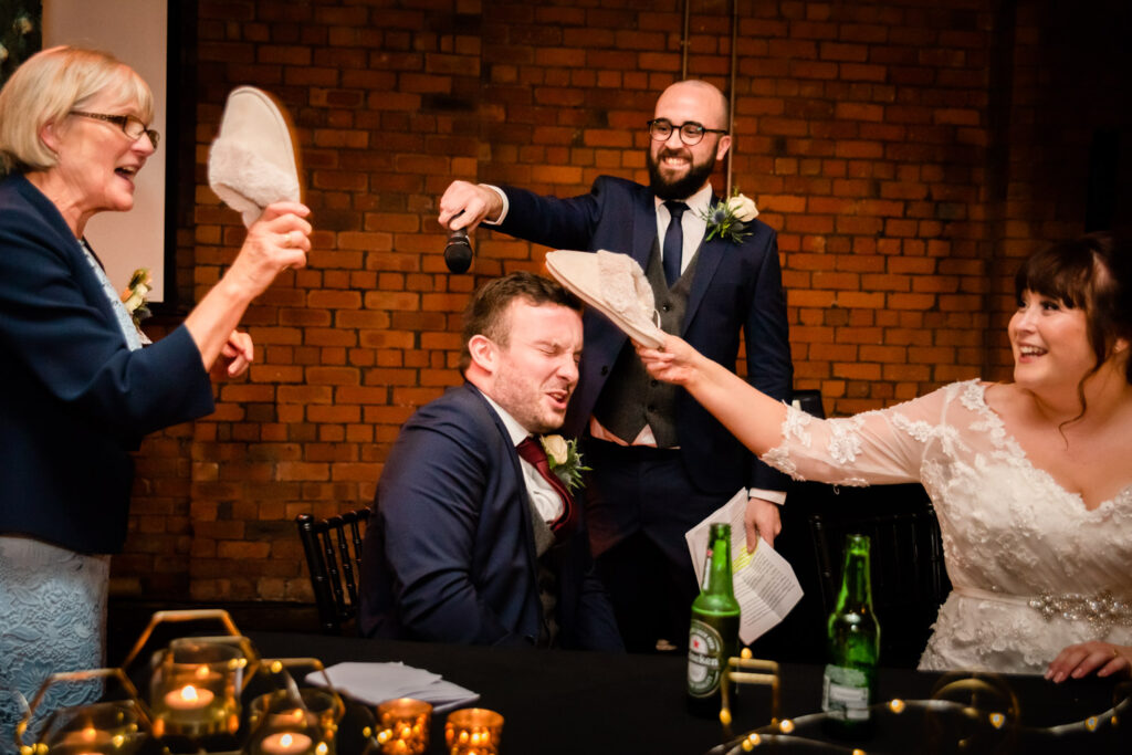 groom being slapped with sleepers
