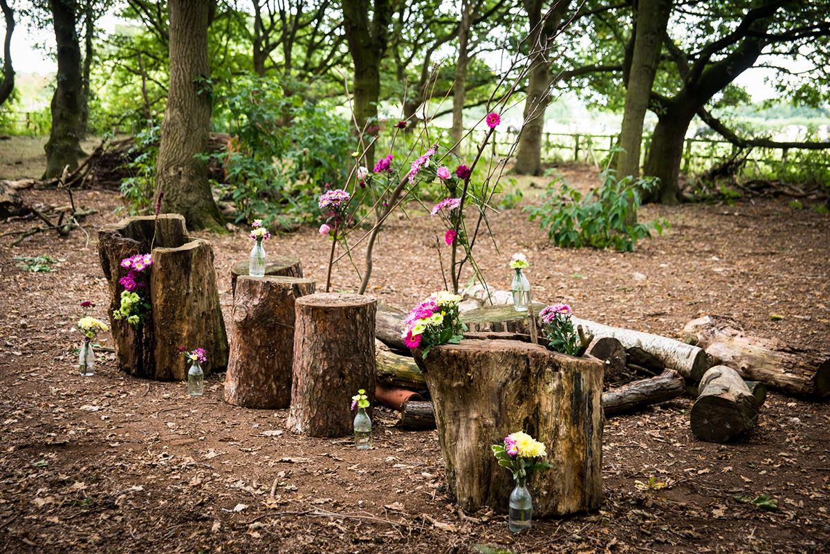 Tree logs used as wedding decoration