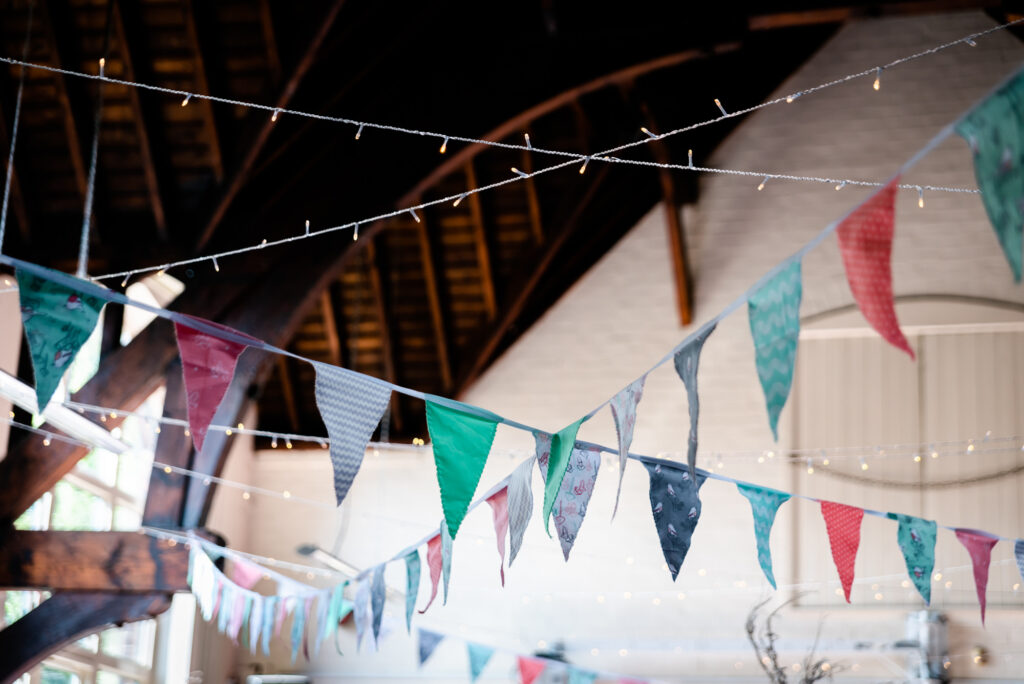 DIY Wedding bunting made with leftover material