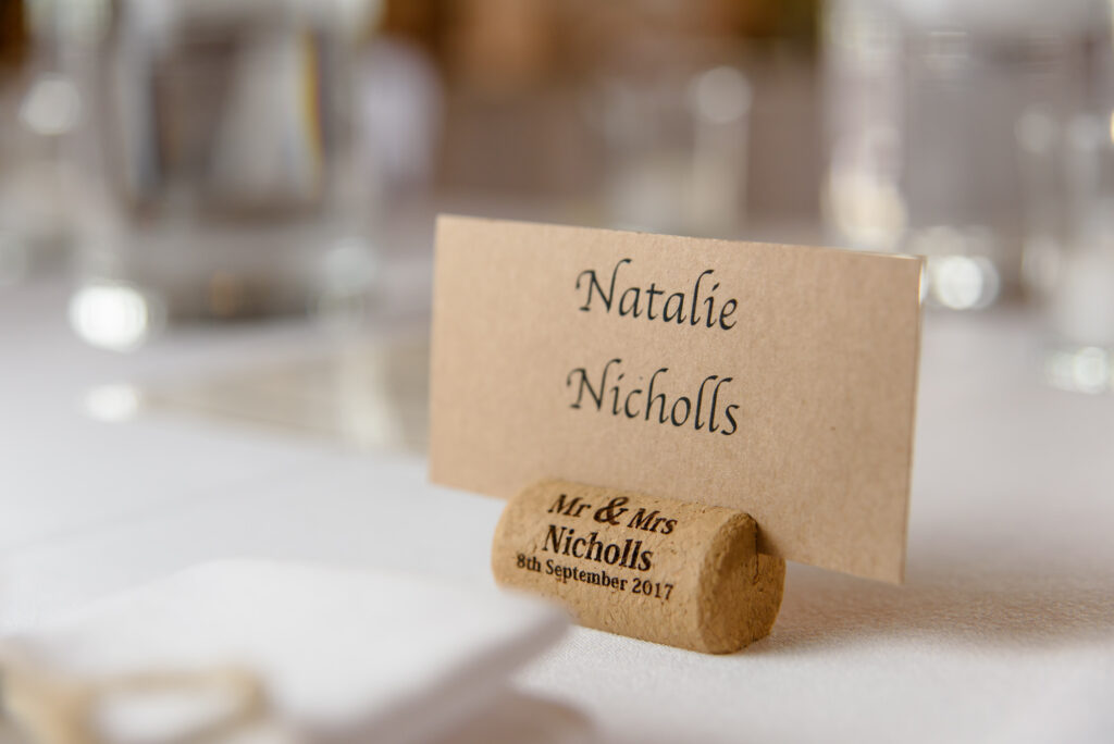 Name place holder using a personalised cork
