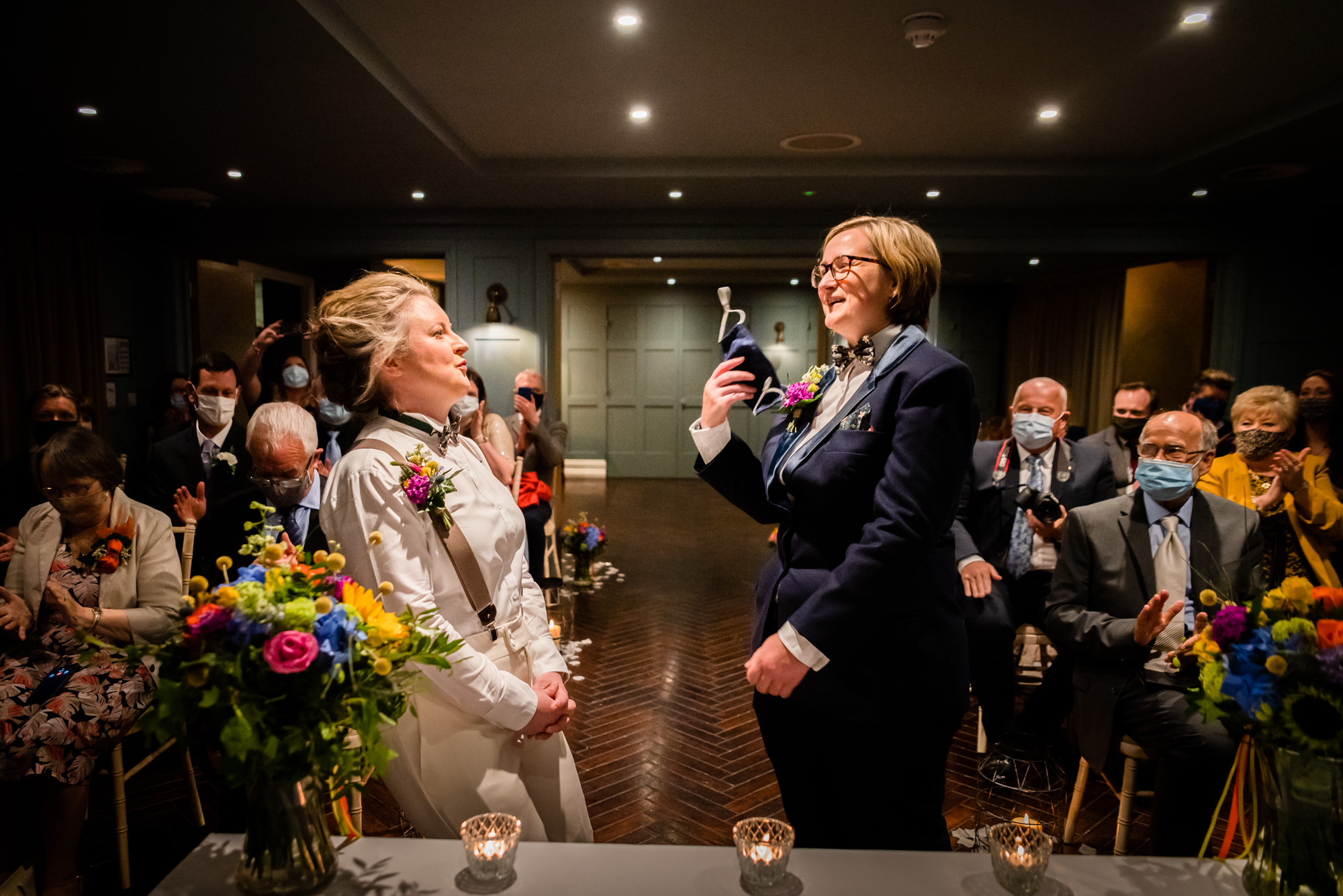 brides relieved after exchanging vows at King Street Townhouse