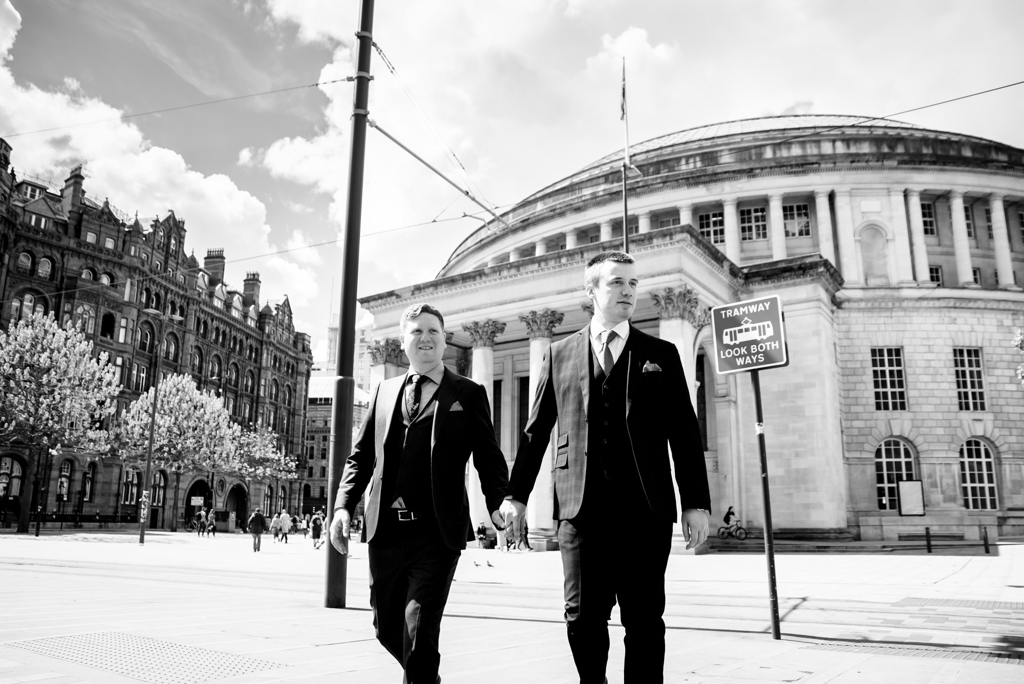 Wedding portraits outside Manchester Central Library
