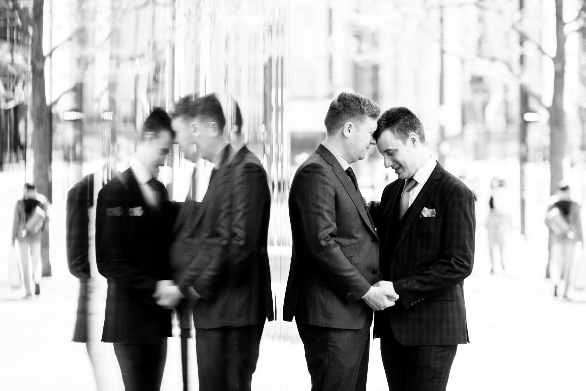 Same sex wedding portrait in Mancehester City Centre