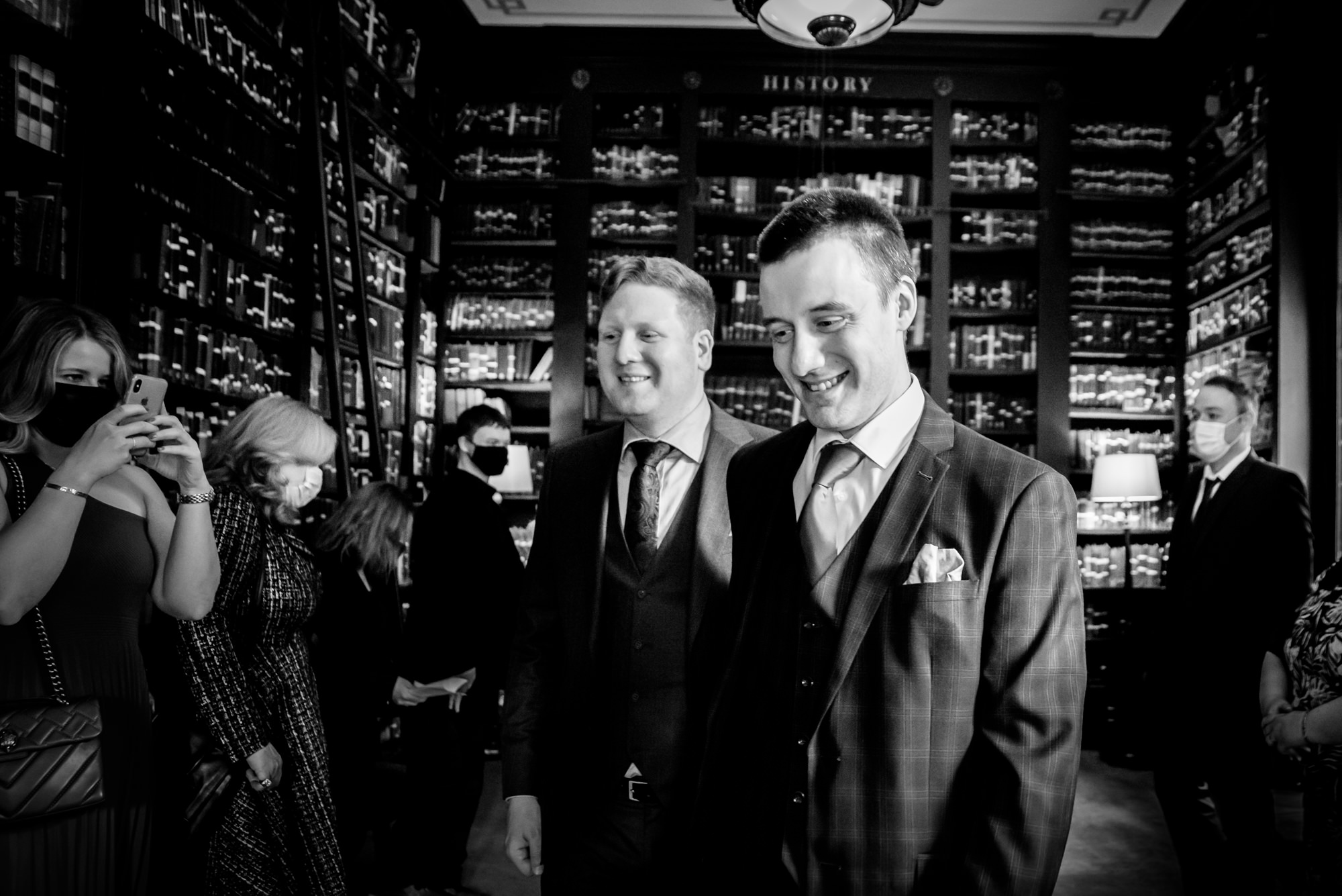 Wedding ceremony in the reading room at at The Portico Library