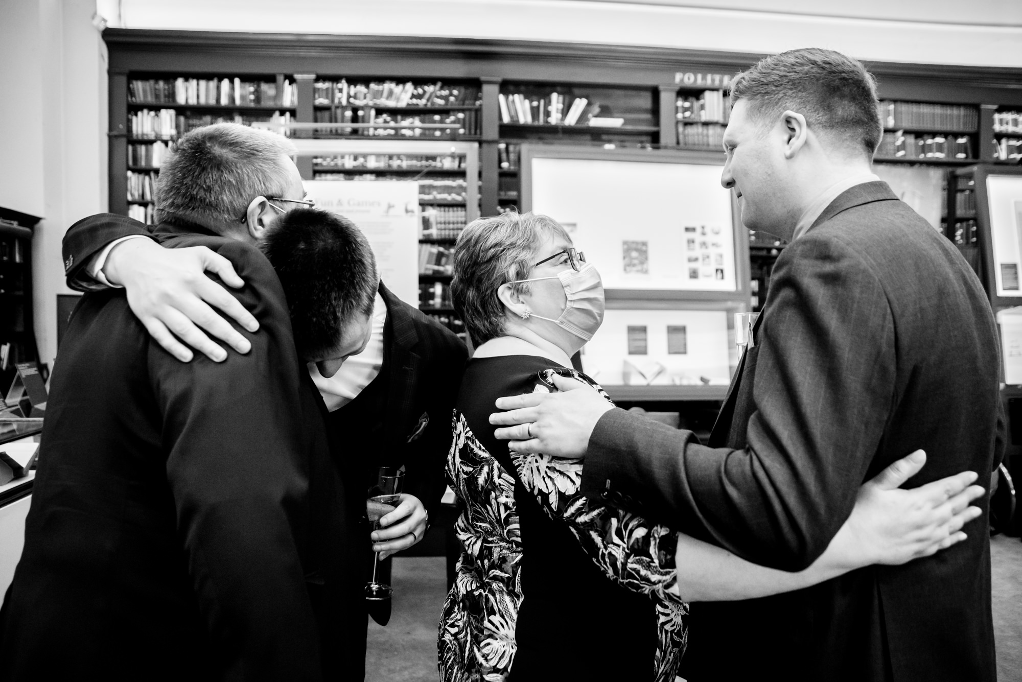 Family hug at the end of the ceremony
