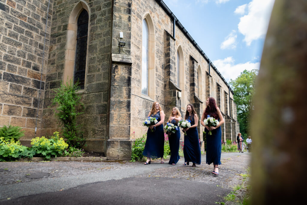 Bridesmaids arriving at st paul's church compstall