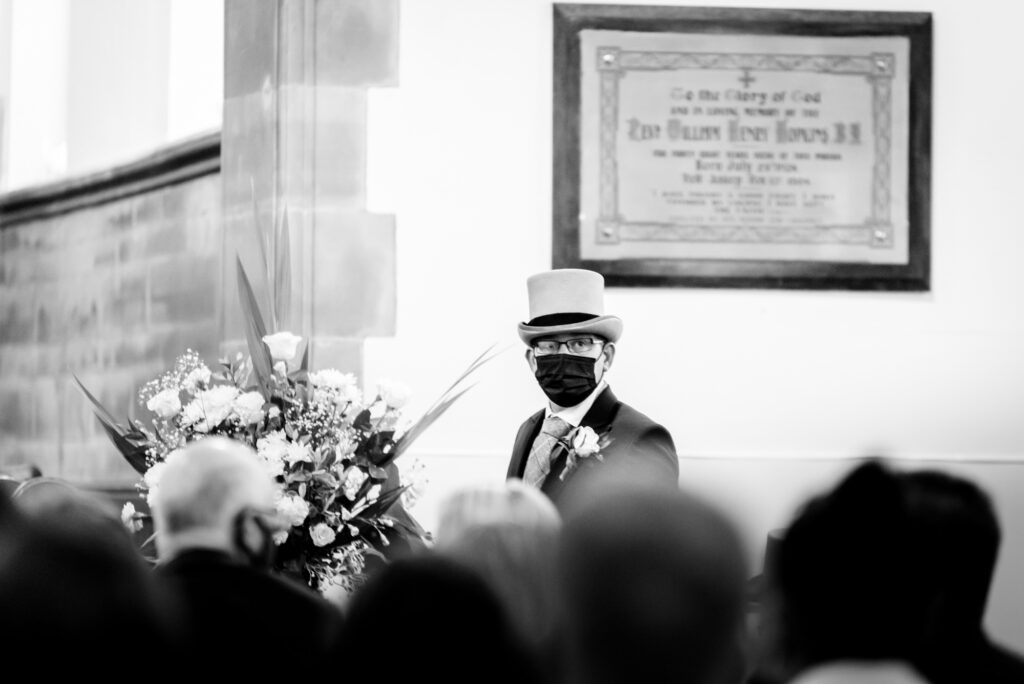 Groom waiting for the bride at st paul's church compstall