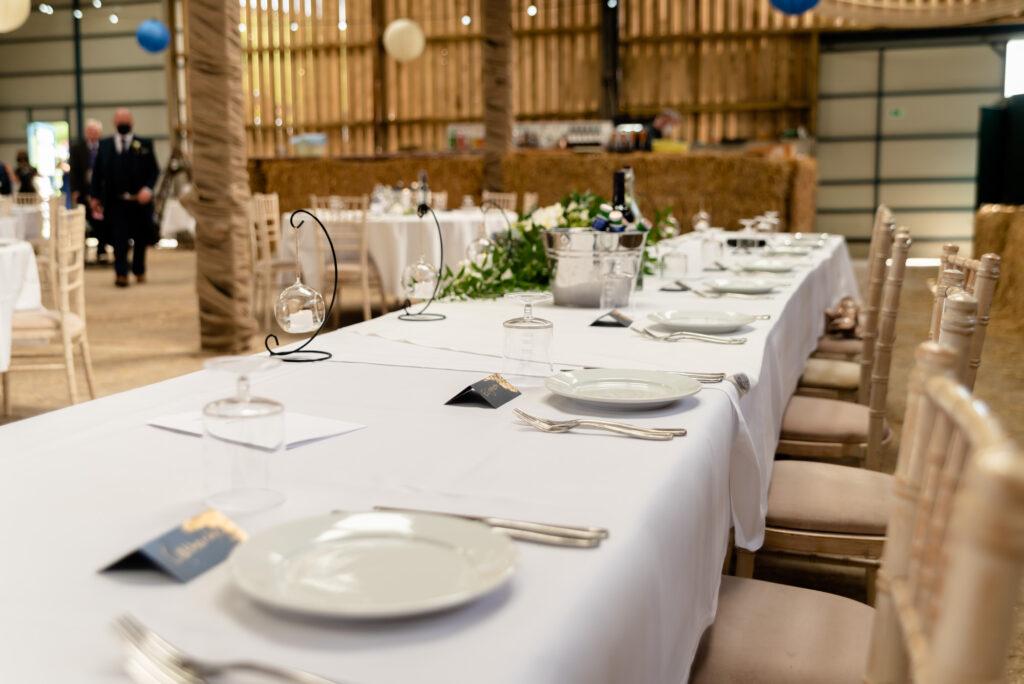Table setting at Thornsett Fields Farm