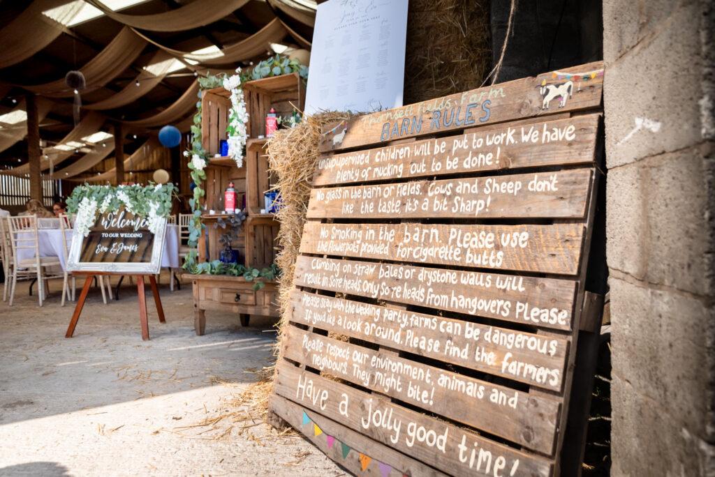 Barn Rules at Thornsett Fields Farm